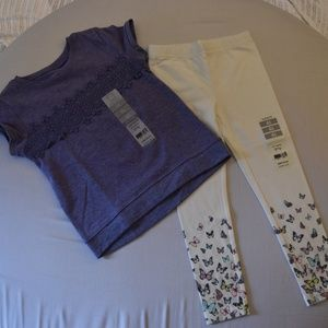 Girls short sleeve shirt with butterfly leggings